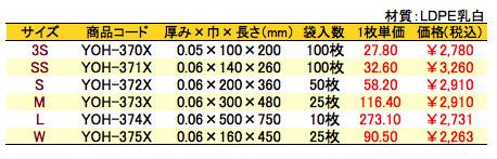 メタリック平袋 ピンク 価格表(小ロット販売)