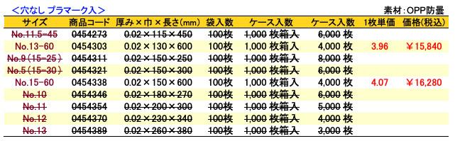 価格表 ボードンレックス(0.02)穴なし プラマーク入