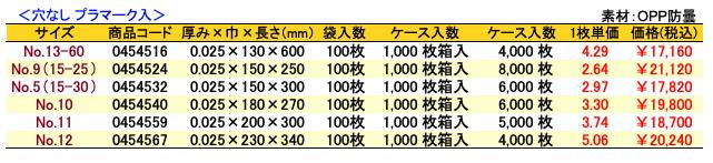 価格表 ボードンレックス(0.025)穴なし プラマーク入