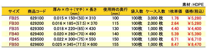 フジバッグ 価格表(ケース単位)