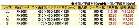 不織布リボン付巾着袋(底マチ付)ネイビー 価格表