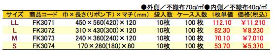 不織布リボン付巾着袋(底マチ付)レッド 価格表