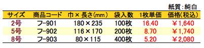 紙平袋 ブロック 価格表(小ロット単位)