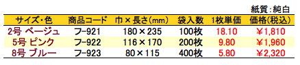 紙平袋 英文字 価格表(小ロット単位)