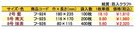 紙平袋 小紋 価格表(小ロット単位)