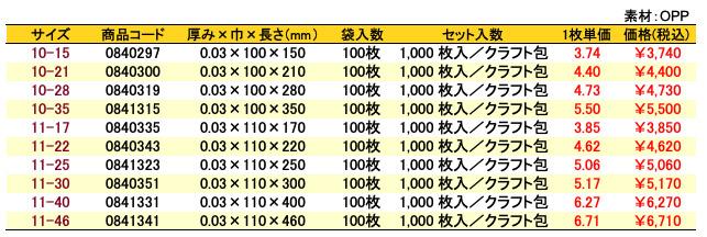 価格表 オーピーパック 無地<巾100〜110mm>