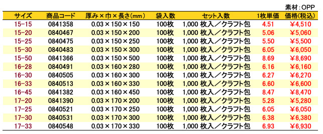 価格表 オーピーパック 無地<巾150〜170mm>