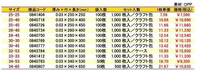 価格表 オーピーパック 無地<巾250~340mm>