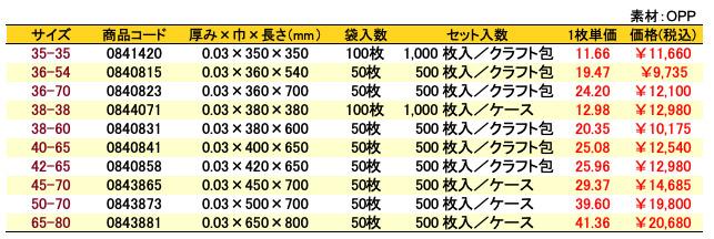 価格表 オーピーパック 無地<巾350〜650mm>