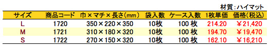 パールバッグ アミー ホワイト 価格表(ケース単位)