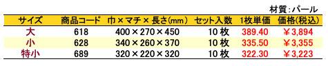 パールバッグ 草柄 価格表(小ロット)