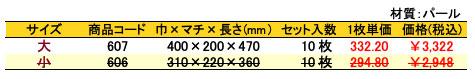 パールバッグ 黄金菊 価格表(小ロット)