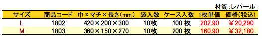 パールバッグ ツートンR・ブラック 価格表(ケース単位)