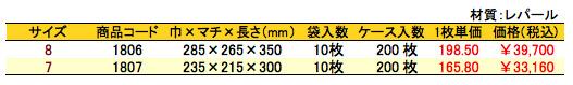 パールバッグ ツートンR・ブラック重箱用 価格表(ケース単位)