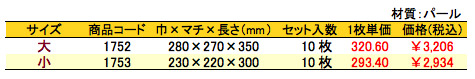 パールバッグ 梅暦 価格表(小ロット)