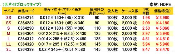 ニューイージーバッグバイオ25半透明(舌片付ブロックタイプ)価格表