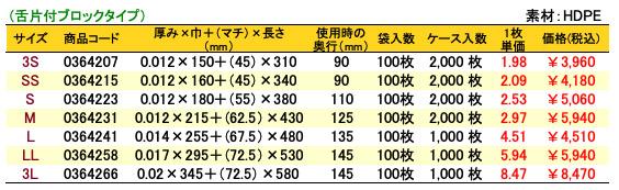 ニューイージーバッグバイオ25乳白(舌片付ブロックタイプ)価格表