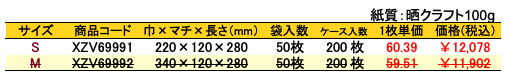 手提袋 フォールドバッグ福うめ 価格表(ケース単位)