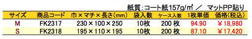 手提げ紙袋 プティハート 価格表(ケース単位)