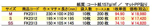 手提げ紙袋 スイートドット 価格表(ケース単位)