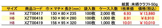 ハイバッグ 角底袋 チェック 価格表(ケース販売)