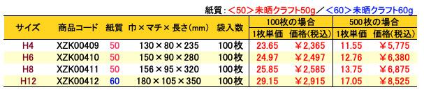 ハイバッグ 角底袋 エメラルド 価格表(小ロット販売)
