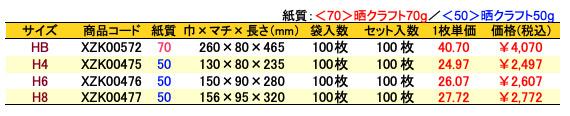 ハイバッグ 角底袋 レター 価格表(小ロット販売)