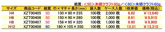 ハイバッグ 角底袋マリン 価格表(ケース販売)