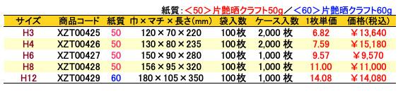 ハイバッグ 角底袋 メルヘン 価格表(ケース販売)