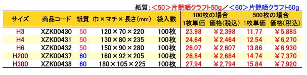 ハイバッグ 角底袋 パリ 価格表(小ロット販売)