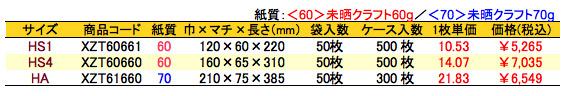 ハイバッグ プレゼントサンタ 価格表(ケース販売)