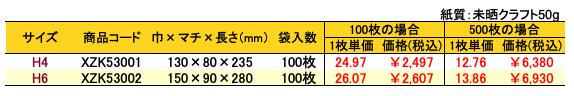 ハイバッグ 角底袋 パズール 価格表(小ロット販売)
