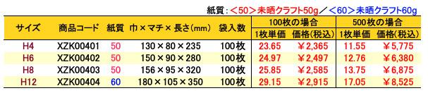 ハイバッグ 角底袋 ルージュ 価格表(小ロット販売)