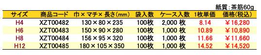 ハイバッグ 角底袋 シルバースミス 価格表(ケース販売)