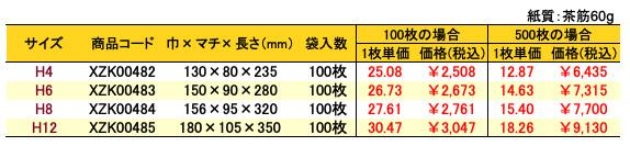 ハイバッグ 角底袋 シルバースミス 価格表(小ロット販売)