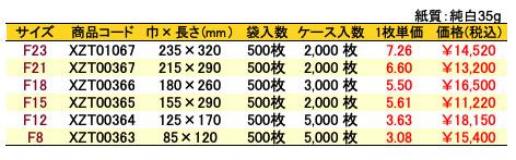 紙平袋 バラエティー 価格表(ケース販売)
