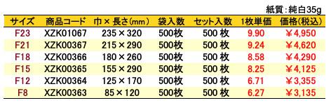 紙平袋 バラエティー 価格表(小ロット販売)