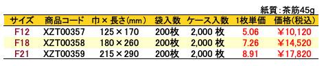 紙平袋 フラットルージュ 価格表(ケース販売)