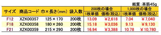 紙平袋 フラットルージュ 価格表(小ロット販売)