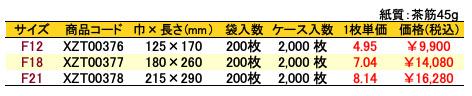紙平袋 フラットシルバースミス 価格表(ケース販売)