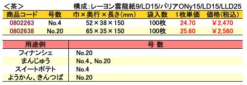 合掌ガゼット袋 GU 茶 価格表