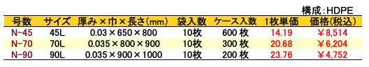 HD半透明ゴミ袋 価格表