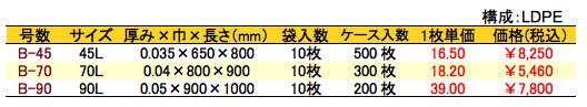 黒ゴミ袋 価格表