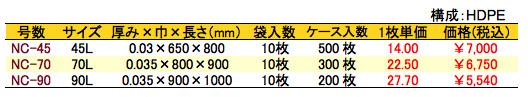 HD炭カル入ゴミ袋 価格表