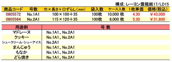 カマス口ずらし袋 KU 無地 価格表(ケース単位)