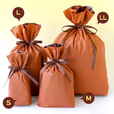 梨地巾着袋 オレンジ集合