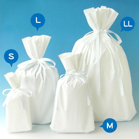 梨地巾着袋 ホワイト集合