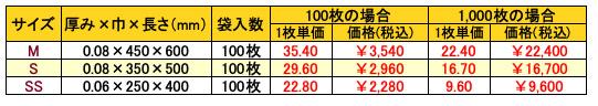 持ち手穴付袋(無地)価格一覧表