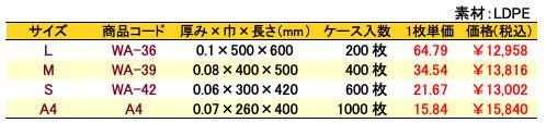 サンクスバッグ底マチなし ホワイト 価格表