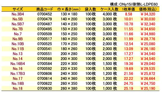 ナイロンポリ_Hタイプ価格表